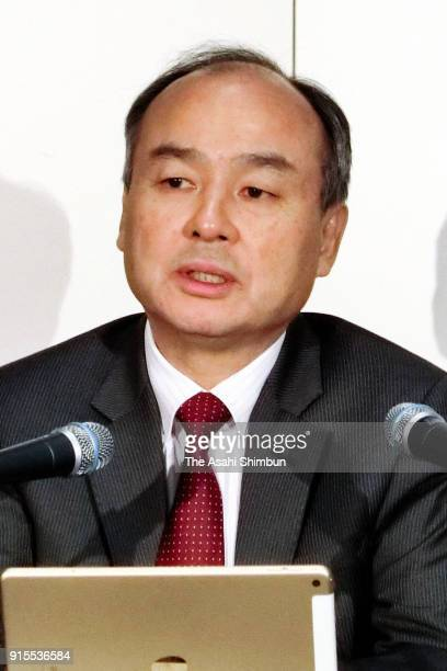 SoftBank CEO Masayoshi Son speaks during a press conference on February 7 2018 in Tokyo Japan