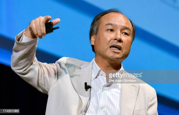 SoftBank Co Chairman and CEO Masayoshi Son speaks during their SoftBankWorld 2013 on July 23 2013 in Tokyo Japan Son announced the company completed...