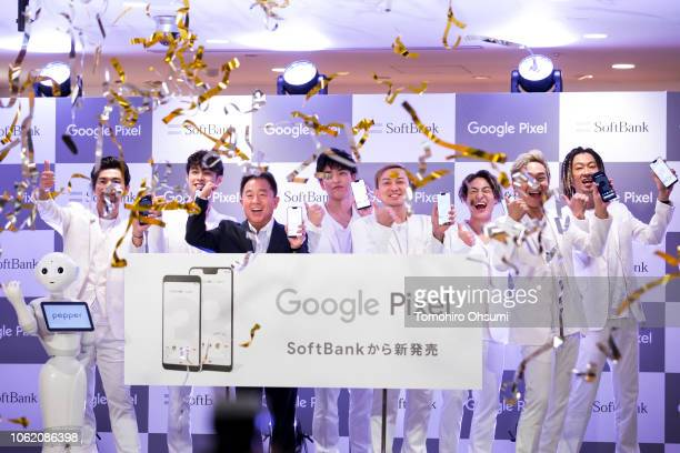 SoftBank Corp Chief Operating Officer Jun Shimba and members of the Japanese pop band group Da Pump attend the launch event of Google Inc's Pixel 3...