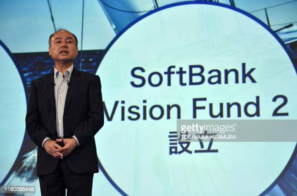 Softbank group CEO Masayoshi Son delivers a speech during a press conference to announce the company's financial results in Tokyo on August 7 2019...