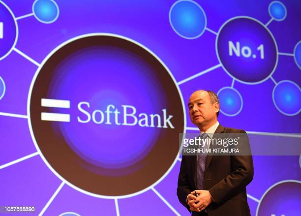 Softbank group CEO Masayoshi Son delivers a speech during his company's financial results press conference at a hotel in Tokyo on November 5 2018 Son...
