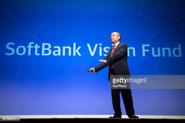 SoftBank Group Corp Chairman and CEO Masayoshi Son attends a news conference in Tokyo, Japan, February 8, 2017. SoftBank Group Corp. Holds its...