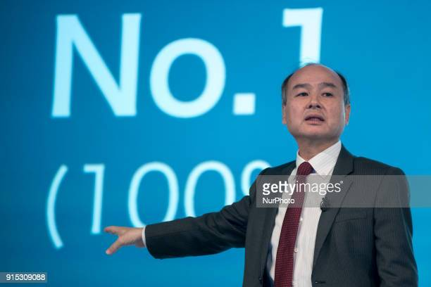 SoftBank Group Corp Chairman and CEO Masayoshi Son attends a news conference in Tokyo February 7 2018 SoftBank Group Corp hold its earnings results...