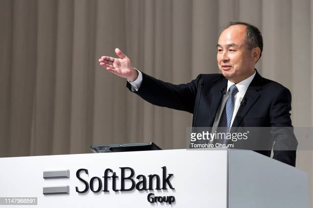 SoftBank Group Corp. Chairman and CEO Masayoshi Son speaks during a press conference on May 9, 2019 in Tokyo, Japan. SoftBank Group announced its...