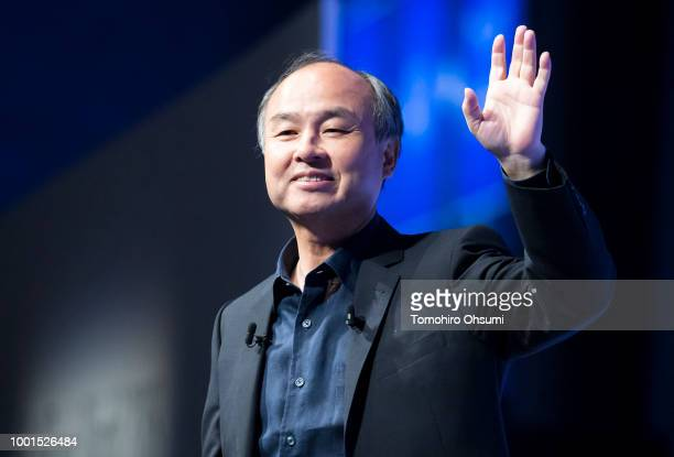 SoftBank Group Corp Chairman and Chief Executive Officer Masayoshi Son delivers a keynote speech during the SoftBank World 2018 conference on July 19...