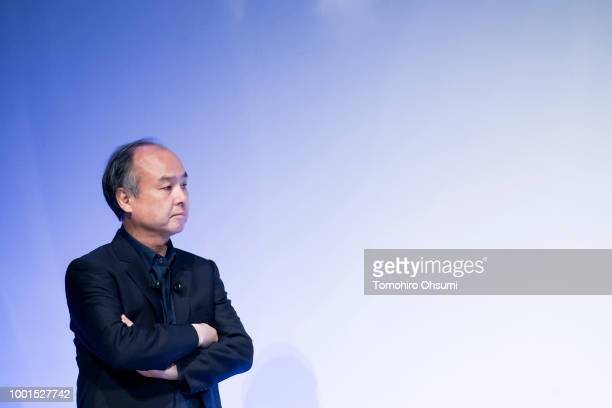 SoftBank Group Corp Chairman and Chief Executive Officer Masayoshi Son listens to a speech during the SoftBank World 2018 conference on July 19 2018...