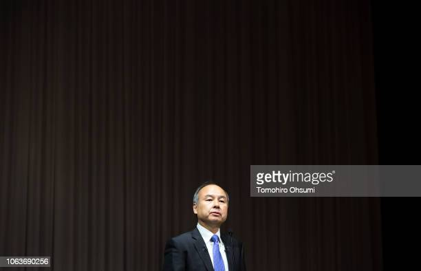 TOKYO JAPAN NOVEMBER 05 SoftBank Group Corp Chairman and Chief Executive Officer Masayoshi Son speaks during a press conference on November 5 2018 in...