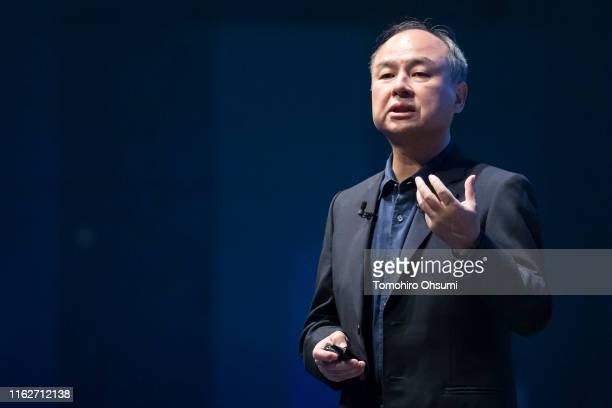 SoftBank Group Corp Chairman and Chief Executive Officer Masayoshi Son makes a speech during the SoftBank World 2019 conference on July 18 2019 in...