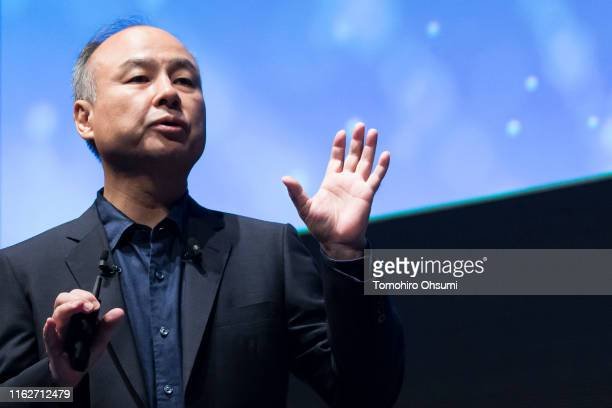 SoftBank Group Corp. Chairman and Chief Executive Officer Masayoshi Son makes a speech during the SoftBank World 2019 conference on July 18, 2019 in...