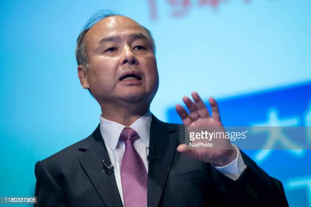 SoftBank Group Corp. Chairman and Chief Executive Officer Masayoshi Son speaks during a press conference on November 6, 2019 in Tokyo, Japan....