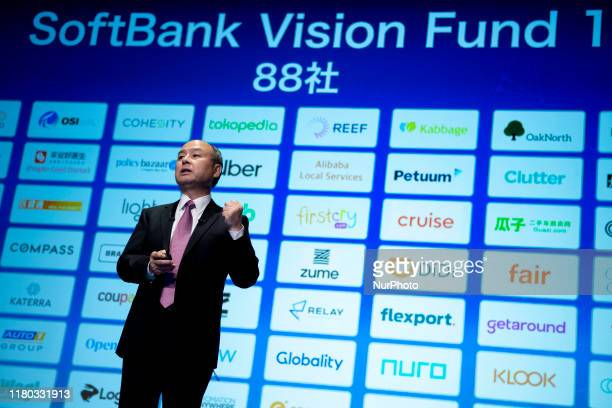 SoftBank Group Corp Chairman and Chief Executive Officer Masayoshi Son speaks during a press conference on November 6 2019 in Tokyo Japan SoftBank...
