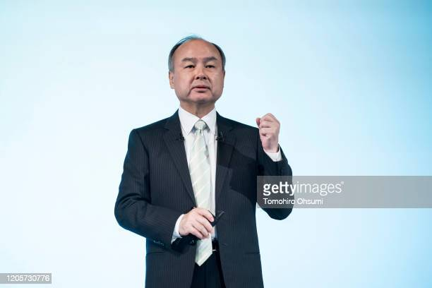 SoftBank Group Corp. Chairman and Chief Executive Officer Masayoshi Son speaks during a press conference on February 12, 2020 in Tokyo, Japan....