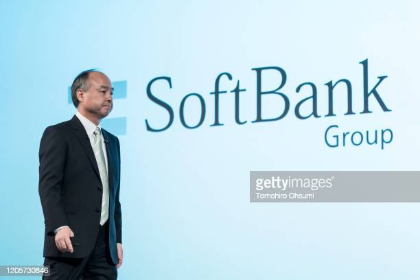 SoftBank Group Corp Chairman and Chief Executive Officer Masayoshi Son leaves the stage during a press conference on February 12 2020 in Tokyo Japan...