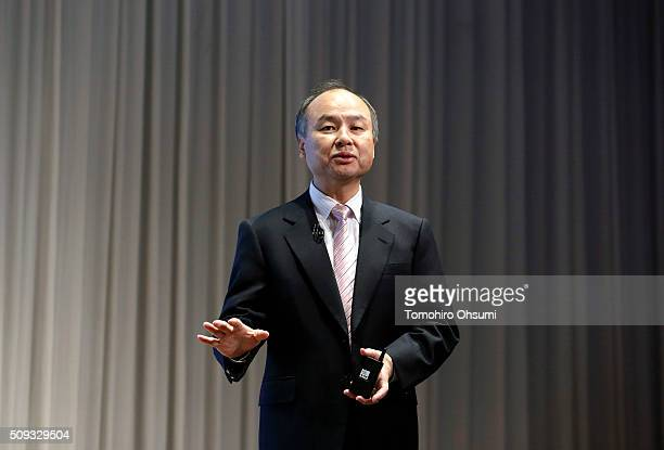 SoftBank Group Corp Chairman and Chief Executive Officer Masayoshi Son speaks during a press conference on February 10 2016 in Tokyo Japan SoftBank...