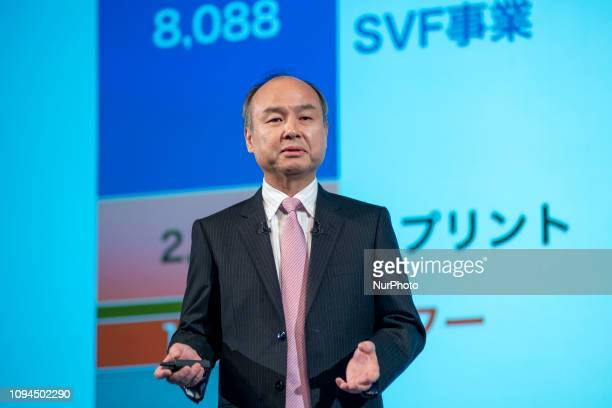 SoftBank Group Corp founder Chairman and CEO Masayoshi Son announces his group's AprilDecember results during a press conference in Tokyo Japan 06...