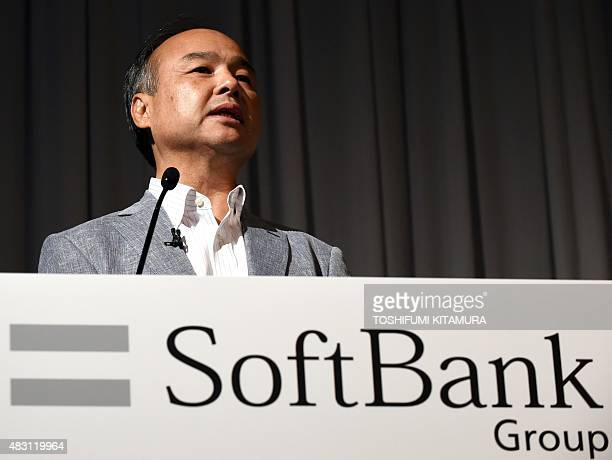 SoftBank Group founder and CEO Masayoshi Son speaks during a press conference announcing the company's financial results in Tokyo on August 6 2015...