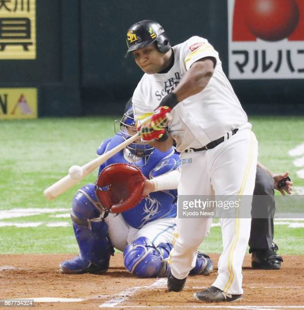 SoftBank Hawks' Alfredo Despaigne hits an RBI single to left in the first inning of Game 2 of the Japan Series against DeNA Baystars at Yafuoku Dome...