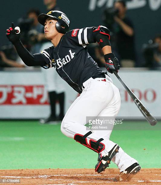 SoftBank Hawks' Kenta Imamiya hits a tworun homer over the left fence in the fourth inning of the Pacific League Climax Series Final Stage Game 4...