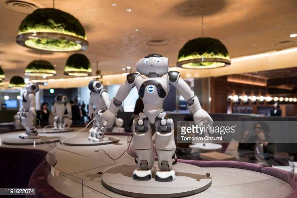 SoftBank Robotics' NAO humanoid robots dance in the Pepper Parlor during a press preview on December 3, 2019 in Tokyo, Japan. The cafe and restaurant...