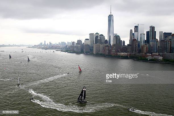 SoftBank Team Japan and the rest of the field sail the course during Day 1 of the Louis Vuitton America's Cup World Series Racing in the Hudson River...