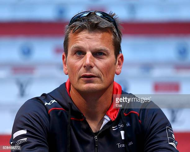 Softbank Team Japan skipper Dean Barker answers questions during the Louis Vuitton America's Cup World Series Racing Skipper press conference at the...