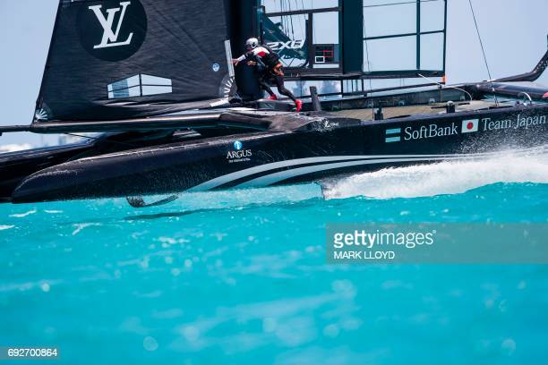 SoftBank Team Japan skippered by Dean Barker races during the 35th America's Cup Challenger Playoffs Semifinalson June 5 in Bermuda's Great Sound /...
