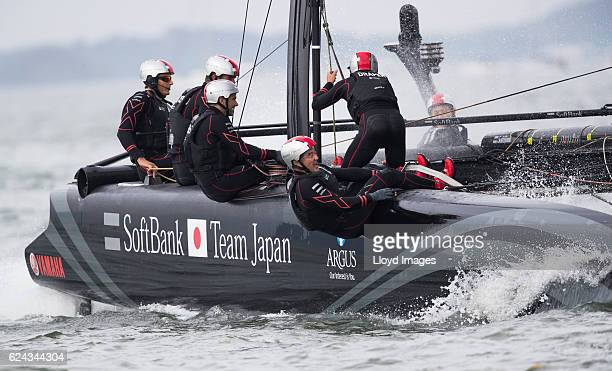 SoftBank Team Japan skippered by Dean Barker with Japanese team mate Kazuhiko Sofuku in action during The Louis Vuitton Americas Cup World Series...