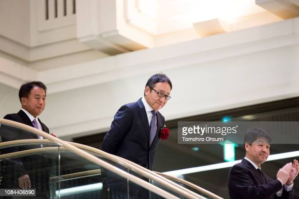 SoftBankCorp. Chief Executive Officer Ken Miyauchi arrives for a ceremony for the company's listing at the Tokyo Stock Exchange on December 19, 2018...