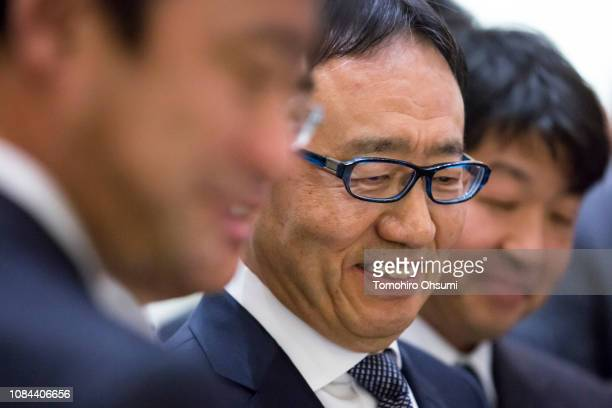 SoftBankCorp. Chief Executive Officer Ken Miyauchi attends a ceremony for the company's listing at the Tokyo Stock Exchange on December 19, 2018 in...