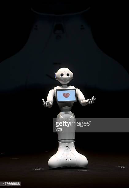 SoftBank's humanlike robot named 'Pepper' speaks during the news conference on June 18 2015 in Chiba Japan Softbank Corp announced that its humanoid...