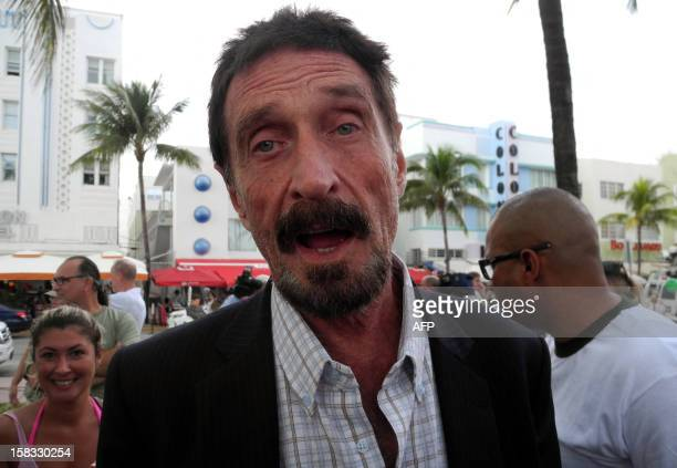 Software company founder John McAfee talks to AFP in front of this hotel in Miami Beach Florida on December 13 a day after being deported to US from...