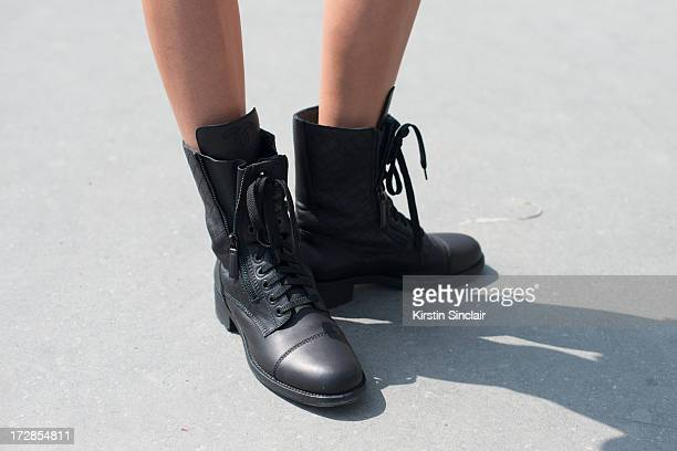 Software Designer Inga Kozel wears Chanel boots on day 2 of Paris Collections Womens Haute Couture on July 02 2013 in Paris France