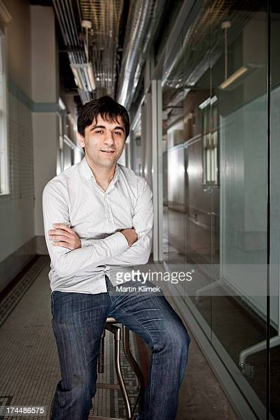 Software developer Arash Ferdowsi cofounder of Dropbox the digital storage service is photographed for Forbes Magazine on October 6 in their offices...