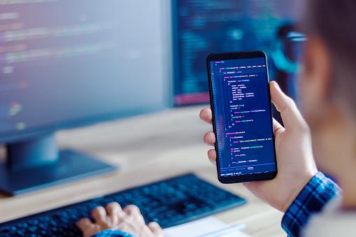 Software developer, freelancer working at home 1174690086