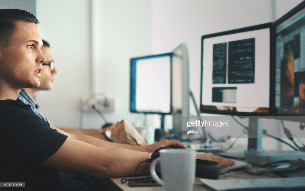Software developers. : Foto de stock
