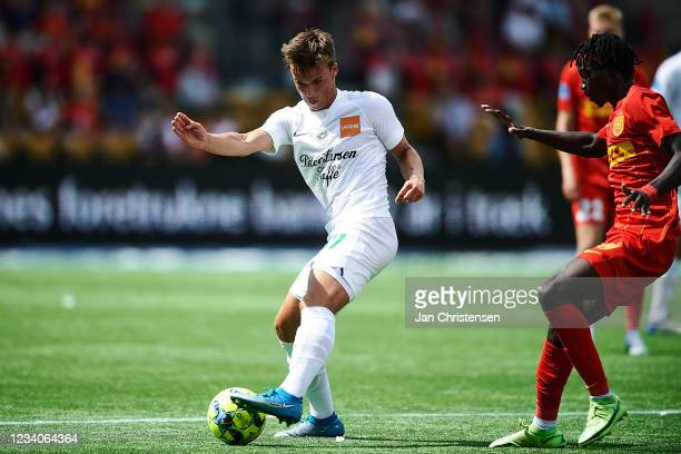 Sofus Berger of Viborg FF in action during the Danish 3F Superliga match between FC Nordsjalland and Viborg FF at Right to Dream Park on July 18,...