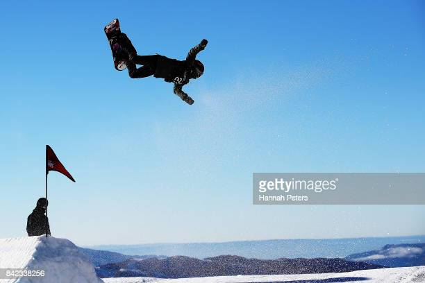 Sofya Fedora of Russia loses control during Winter Games NZ FIS Women's Snowboard World Cup Slopestyle Finals at Cardrona Alpine Resort on September...