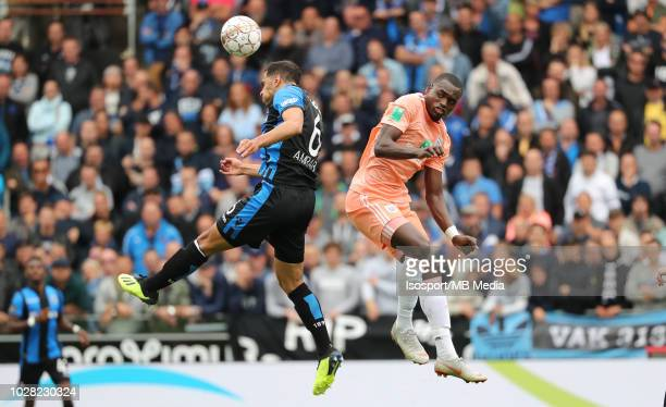 Sofyan Amrabat and Landry Dimata fight for the ball during the Jupiler Pro League match day 5 between Club Brugge and Rsc Anderlecht on August 26...