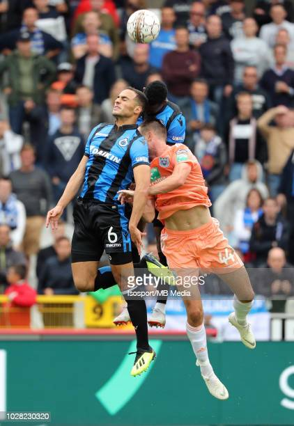 Sofyan Amrabat Emmanuel Bonaventure Dennis and Antonio Milic fight for the ball during the Jupiler Pro League match day 5 between Club Brugge and Rsc...