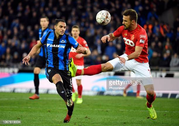 Sofyan Amrabat midfielder of Club Brugge and Orlando Sa forward of Standard Liege during the Jupiler Pro League match between Club Brugge and...