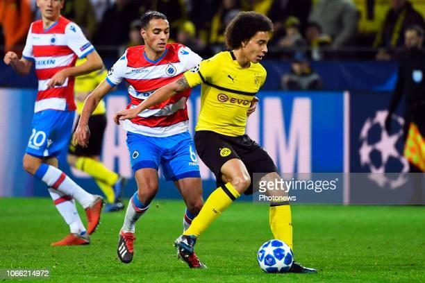 Sofyan Amrabat midfielder of Club Brugge Axel Witsel midfielder of Borussia Dortmund during the UEFA Champions League group A match between Borussia...