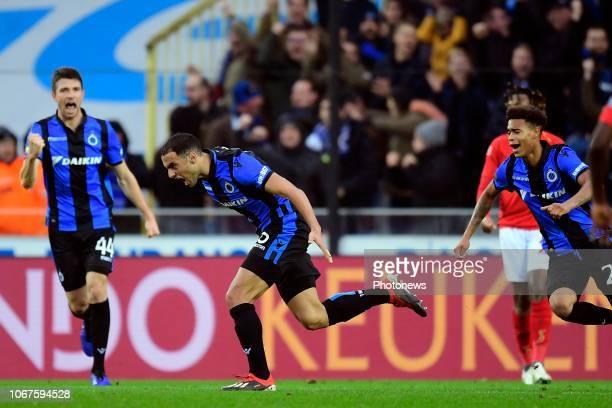 Sofyan Amrabat midfielder of Club Brugge celebrates scoring a goal during the Jupiler Pro League match between Club Brugge and Standard de Liege at...