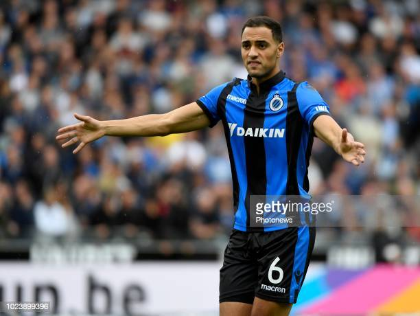 Sofyan Amrabat midfielder of Club Brugge during the Jupiler Pro League match between Club Brugge and RSC Anderlecht on August 26 2018 in Brugge...
