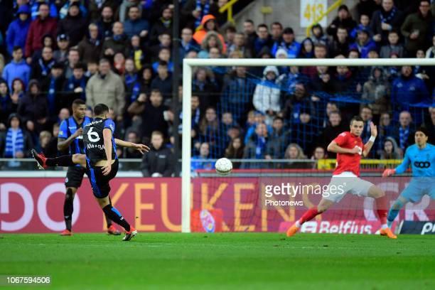 Sofyan Amrabat midfielder of Club Brugge scores a goal during the Jupiler Pro League match between Club Brugge and Standard de Liege at the Jan...