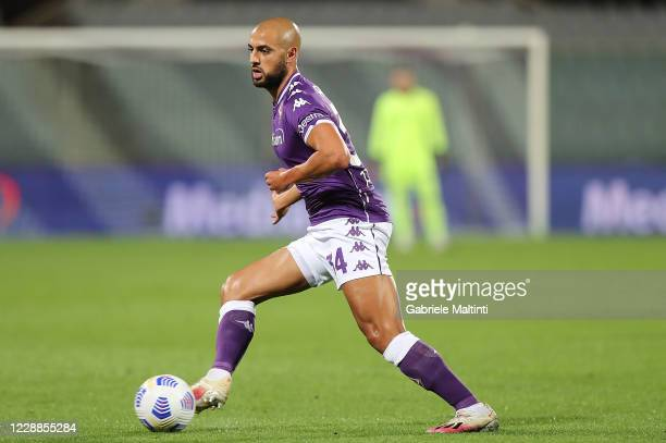 Sofyan Amrabat of ACF Fiorentina in action during the Serie A match between ACF Fiorentina and UC Sampdoria at Stadio Artemio Franchi on October 2...