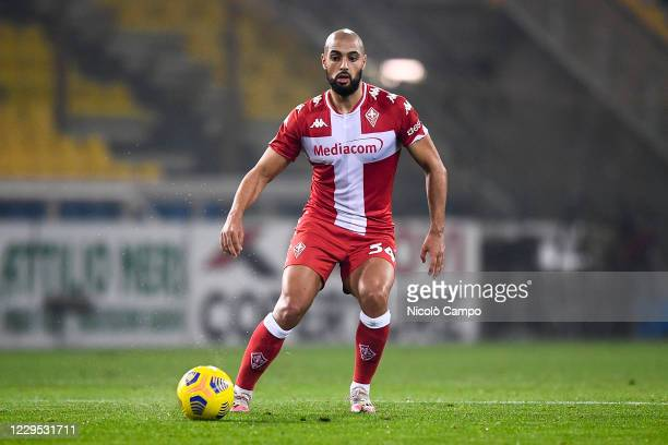 Sofyan Amrabat of ACF Fiorentina in action during the Serie A football match between Parma Calcio and ACF Fiorentina The match ended 00 tie