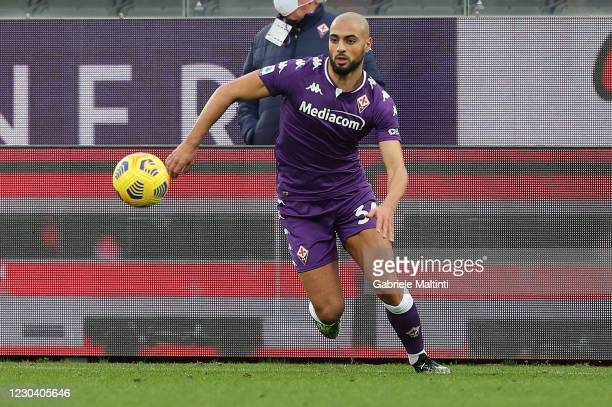 Sofyan Amrabat of ACF Fiorentina in action during the Serie A match between ACF Fiorentina and Bologna FC at Stadio Artemio Franchi on January 3,...