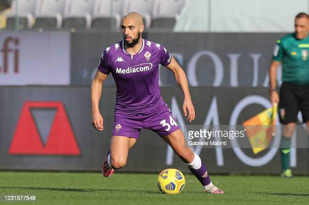 Sofyan Amrabat of ACF Fiorentina in action during the Serie A match between ACF Fiorentina and Parma Calcio at Stadio Artemio Franchi on March 7,...