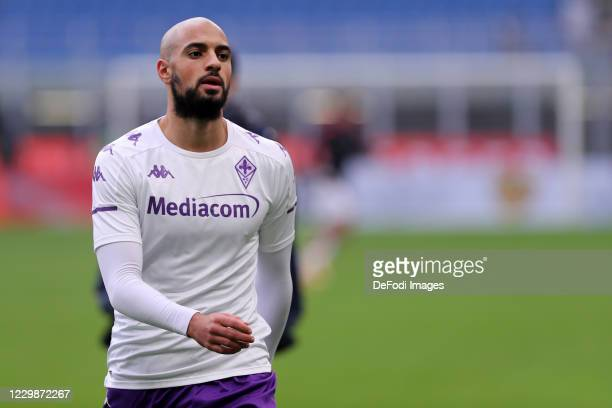 Sofyan Amrabat of ACF Fiorentina look on prior to the Serie A match between AC Milan and ACF Fiorentina at Stadio Giuseppe Meazza on November 29,...