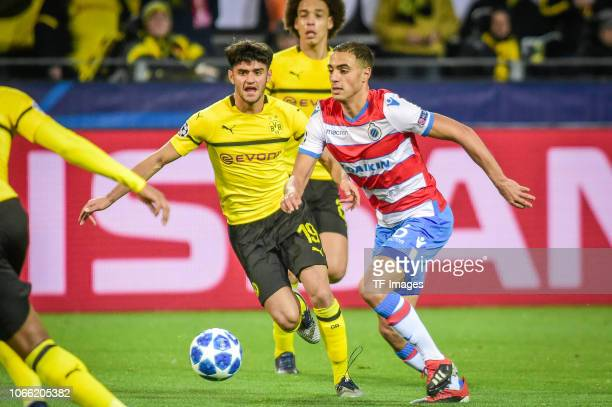 Sofyan Amrabat of Bruegge and Mahmoud Dahoud of Borussia Dortmund battle for the ball during the Group A match of the UEFA Champions League between...